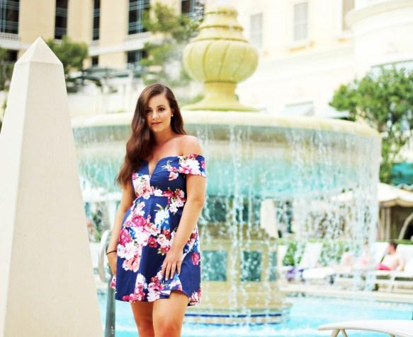 Girl by Bellagio Pool in Vegas