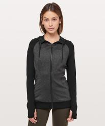 Dance Studio Jacket Rib Sleeve Black and Heathered Black