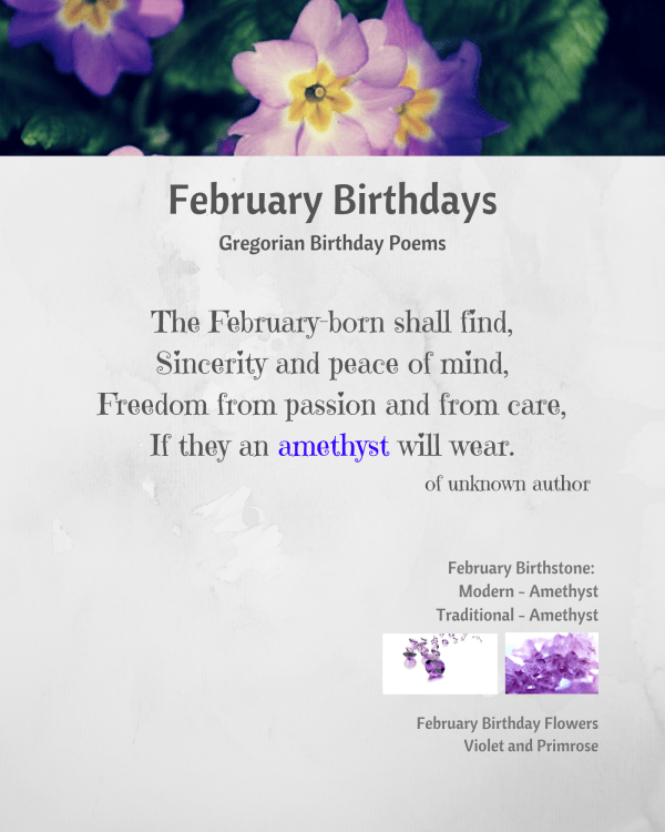 February Birthstone Poem