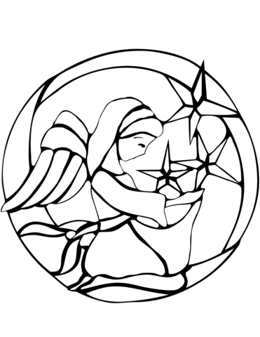Stained Glass Christmas Angel coloring page