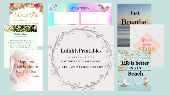 Printables including quotes, planners, stickers, coloring pages