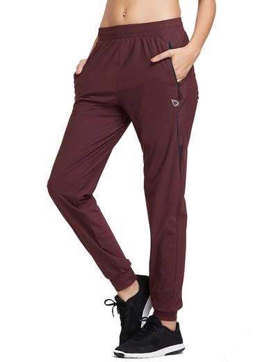 womans burgundy pants