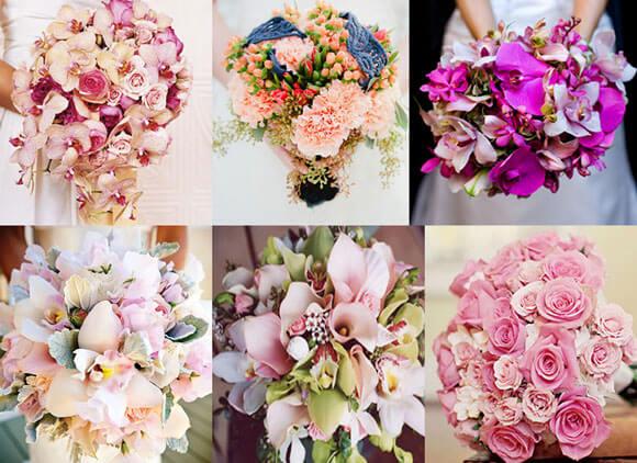 оригинальные розовые свадебные букеты
