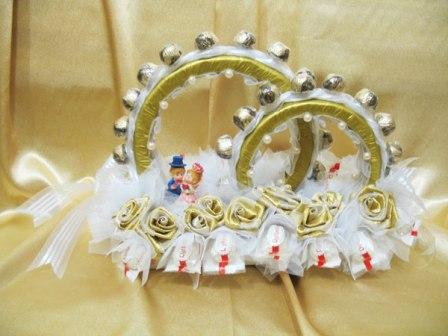 Свадебные кольца из конфет