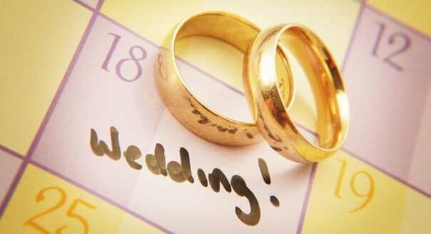 календарь, обручальные кольца