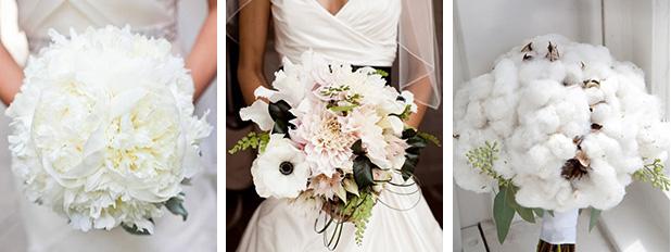 Белые свадебные букеты невесты