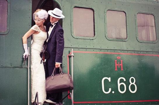 ретро поезд для свадебного путешествия
