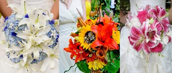 Яркий свадебный букет из лилий