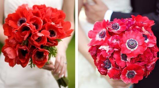 Красный свадебный букет из маков