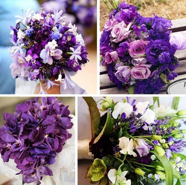 Варианты свадебных фиолетовых букетов