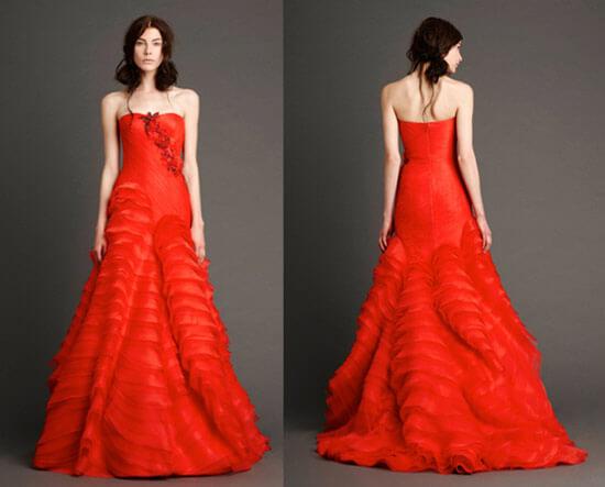 Алое свадебное платье с юбкой из рюш
