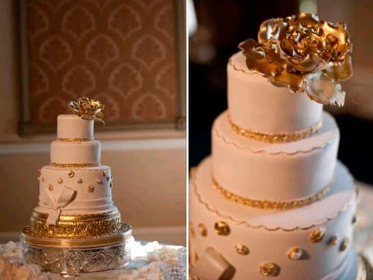 бело-золотой торт