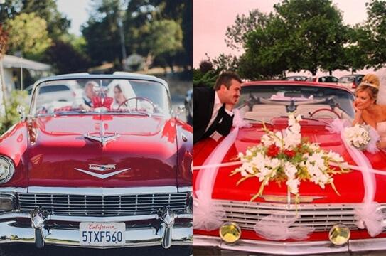 Автомобиль для свадьбы в красном стиле