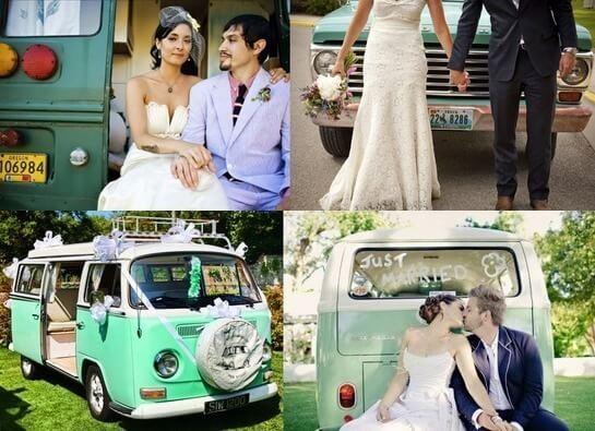 Автомобили для свадьбы в зеленом стиле