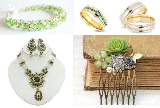 Драгоценности для свадьбы в зеленом стиле