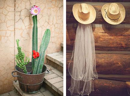 Шляпы и кактусы в декоре ковбойской шляпы