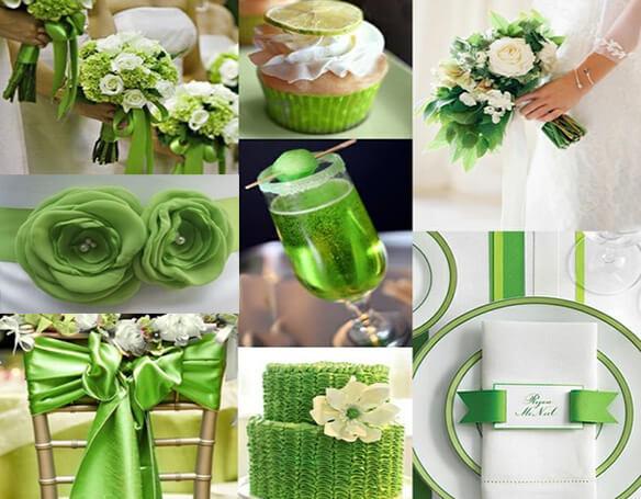 Свадебная палитра в зеленом цвете