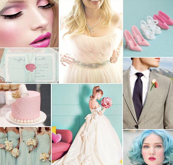 Голубая свадебная палитра в стиле Барби
