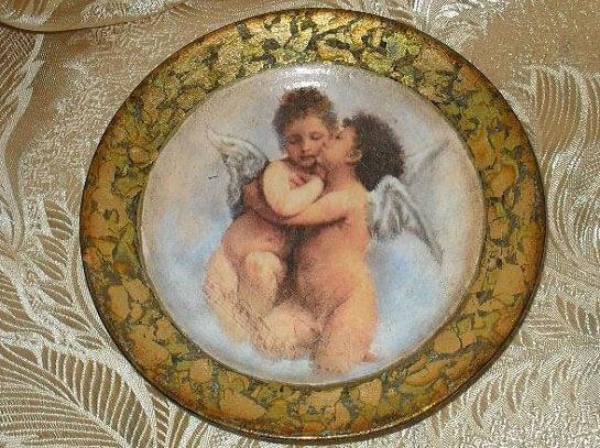 Подарок на годовщину свадьбы: декупаж тарелки