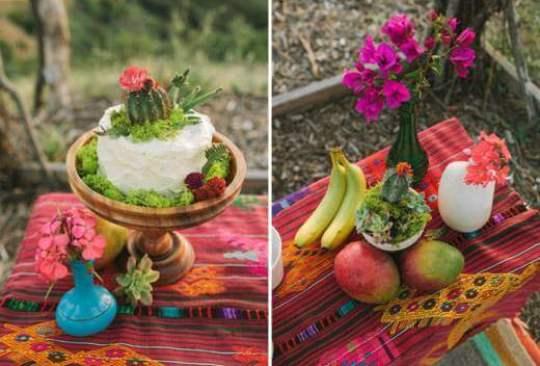 кактусы в украшении стола