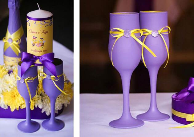 Красивые свадебные фужеры в сиреневом стиле