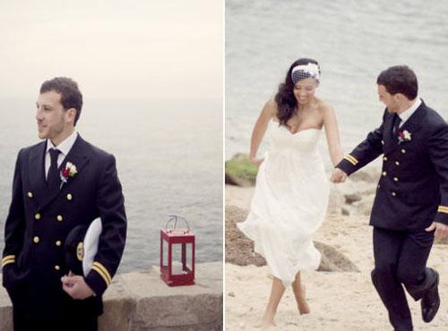 невеста и жених у моря