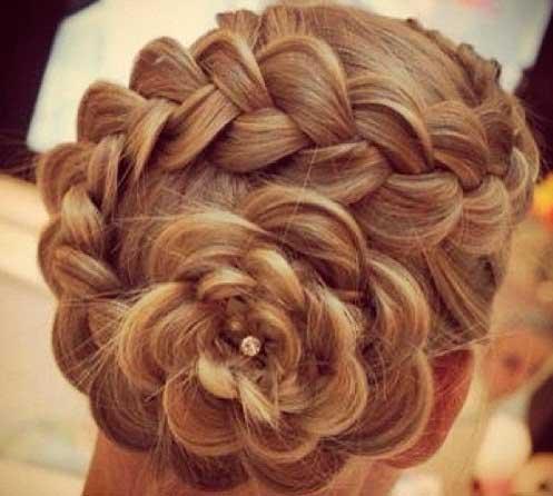 коса цветок свадебная прическа