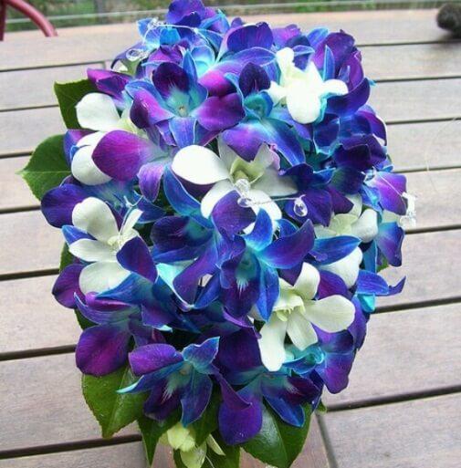 синие орхидеи в букете невесты