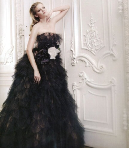 оригинальное черное свадебное платье