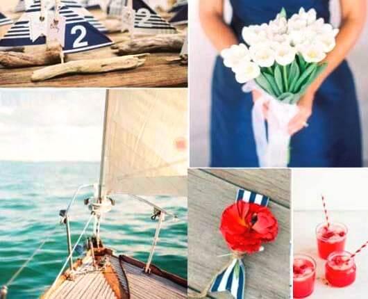 синие аксессуары на морской свадьбе