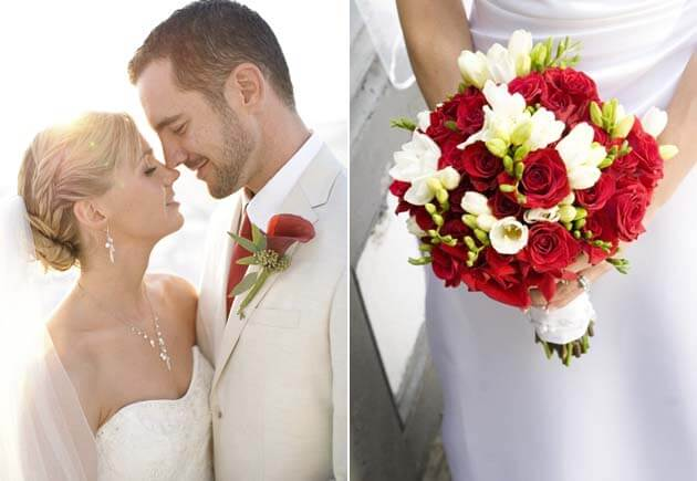 свадьба в красно белом стиле, цветы