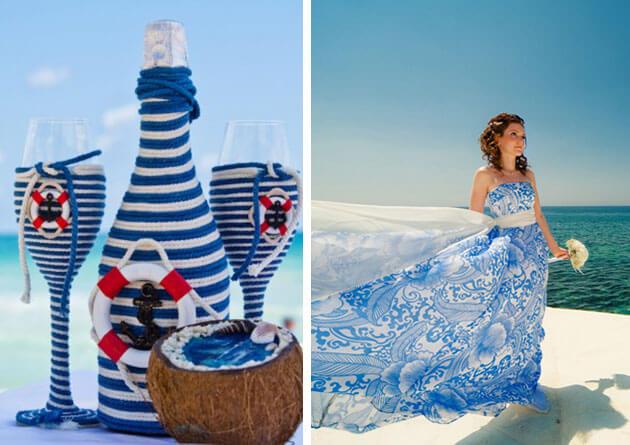 Красивое свадебное платье в морском стиле голубое