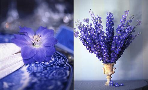 Цветы на свадебный стол синие