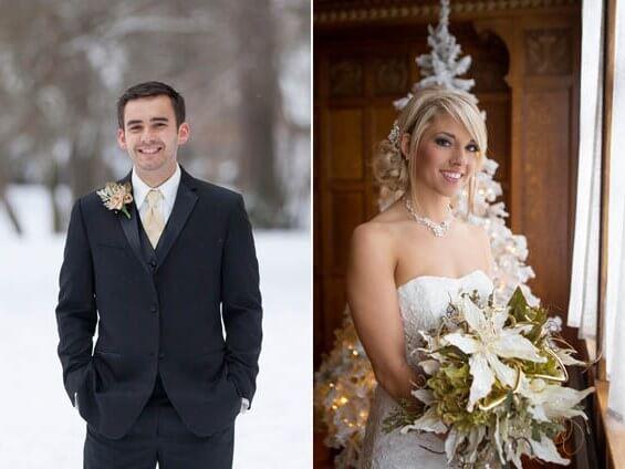 невеста с белым букетом