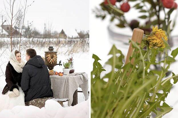 молодожены зимой за столом