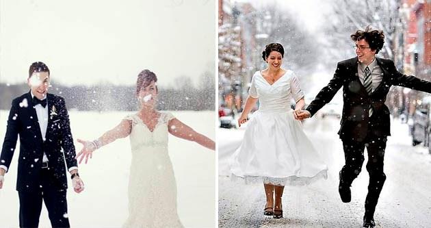 зимний снегопад на свадебной фотосессии