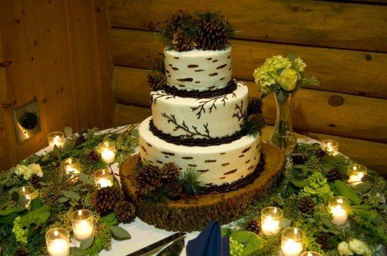 торт в виде полена березы
