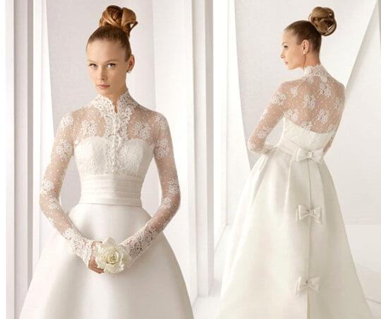 платье невесты с длинным рукавом