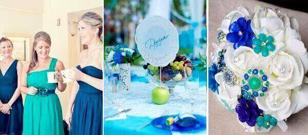 бирюзовый синий в декоре свдаьбы