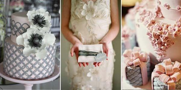 серо-розовый торт на свадьбу
