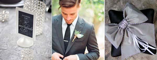 серый костюм жениха и черный галстук