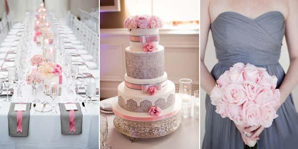 серый розовый цвет в сервировке стола