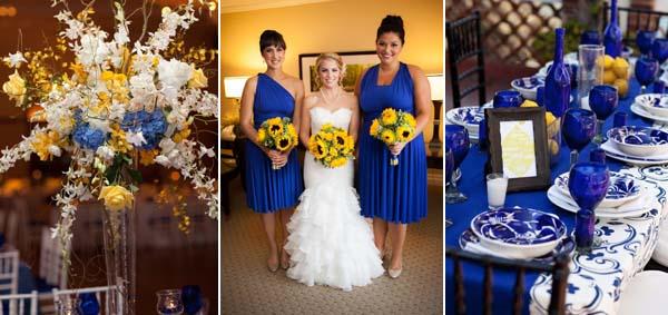 желтые букеты и синие платья на свадьбе