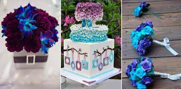 фиолетовый и голубой в свадебном торте