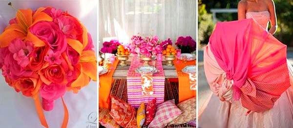 оранжевый и фуксия в декоре свадьбы