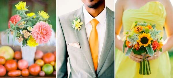 желтый и оранжевый в образе свидетельницы свадьбы