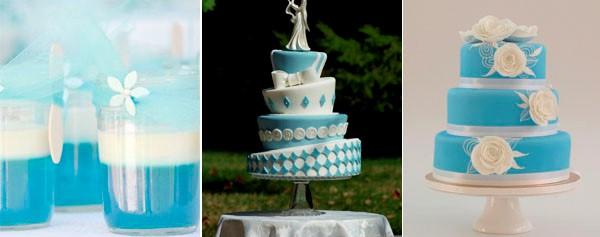 голубой и белый цвет свадебного торта