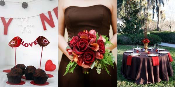коричневый и красный в декоре свадьбы