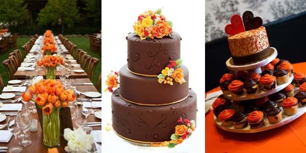 коричневый и оранжевый цвет торта