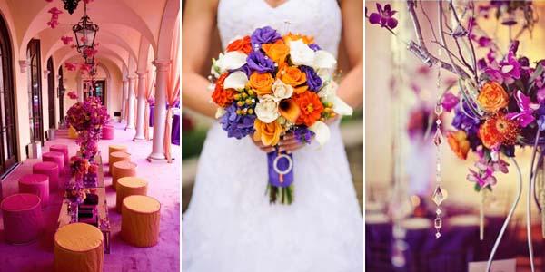 оранжевый и фиолетовый на свдаьбе